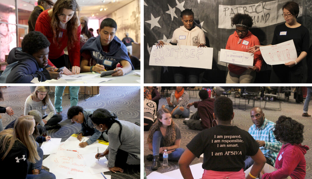 A collage of students at work on BMORE in the Story