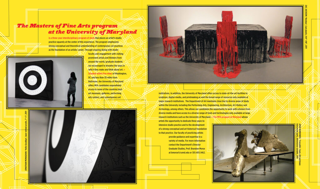 Sample spread of the 2011 MFA UMD Thesis Exhibition