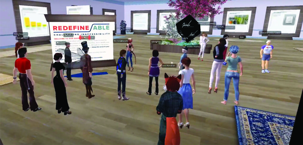 Screengrab from the Second Life installation. Sixteen human-looking avatars are standing in the illustrated room. Introductory information about Redefine/ABLE is on the main panel closest to tour leader, David London. Nine large wooden-framed panels with exhibition information are posted around the space.