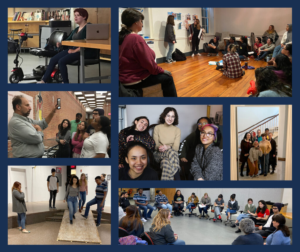 Seven images showing students listening to and working with various speakers and testing different exhibition ideas.